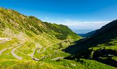 Transfagarasan Road In Mountains Of Romania. Gorgeous View Of The Landscape From The Edge Of A Hill. poster