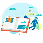 Education, Online Training Courses, Distance Education Flat Vector Illustration. Internet Studying,  poster