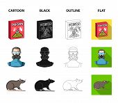 Staff, Packing With Poison And Pests Cartoon, Black, Outline, Flat Icons In Set Collection For Desig poster