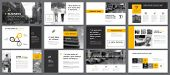 Yellow, White And Black Infographic Design Elements For Presentation Slide Templates. Business And A poster