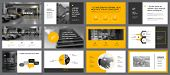 Yellow, White And Grey Infographic Design Elements For Presentation Slide Templates. Business And Pr poster
