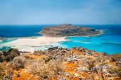 Fantastic View Of Balos Lagoon And Gramvousa Island On Crete, Greece. poster