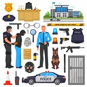 Police Vector Policeman Character And Policeofficer In Bulletproof Vest With Handcuffs In Police-off poster