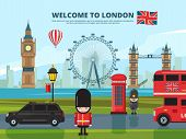 Background Vector Illustration With London Urban Landscape. England And Uk Landmarks. Urban London T poster