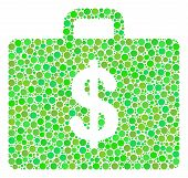 Business Case Mosaic Of Circle Elements In Variable Sizes And Green Color Hues. Vector Dots Are Orga poster