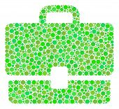 Case Mosaic Of Dots In Variable Sizes And Eco Green Shades. Vector Round Elements Are Grouped Into C poster
