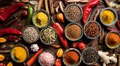 Variety of spices and herbs on kitchen table poster