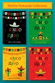 Set Of Cinco De Mayo Event Promo Template. Festive Vector Illustration Collection With Sombrero And  poster