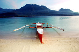 picture of camiguin  - Banca boat on Camiguin Island Philippines near the sunken cemetery - JPG