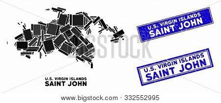 poster of Mosaic Saint John Island Map And Rectangular Rubber Prints. Flat Vector Saint John Island Map Mosaic