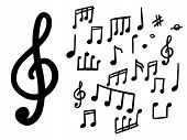Set Of Musical Notes. Doodle Musical Notes. Vector Isolated Objects poster