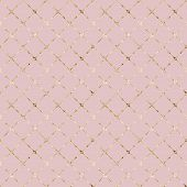 Stripe Grunge Glittering Plaid Pastel Pink Seamless Pattern With Gold Glitter Line Contour. Striped  poster