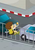 Постер, плакат: Иллюстрация мальчика восхождение на дорогу EPS ВЕКТОРНЫЙ формат также доступны в моем портфолио