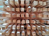 Wooden Beams, Planks Of Wood, Stacked In Stacks. Horizontal Photo. poster