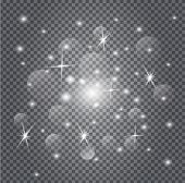 Stardust Is Glittering. White Christmas Sparkles On Transparent Background. poster
