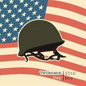 Happy Veterans Day On November 11th With Veterans Helmet Vector Design poster