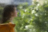 Wet Window Glass With A Defocused Silhouette Of A Woman In An Orange Dress And Blurred Green Leaves poster