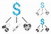 Medical Budget Mosaic Of Humpy Parts In Different Sizes And Color Hues, Based On Medical Budget Icon poster