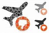 Airplane Fail Mosaic Of Irregular Parts In Variable Sizes And Color Tints, Based On Airplane Fail Ic poster
