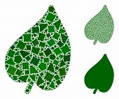 Leaf Mosaic Of Unequal Items In Various Sizes And Shades, Based On Leaf Icon. Vector Humpy Items Are poster