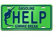 stock photo of high-octane  - Concept image with gas nozzle on license plate - JPG
