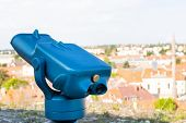 Picture Of A Blue Sightseeing Telescope In Eger, Hungary poster