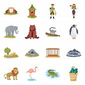 Isolated Object Of Zoo And Park Sign. Collection Of Zoo And Animal Stock Vector Illustration. poster