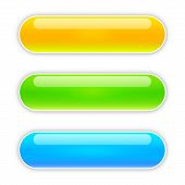 Set Of Vector Glossy Buttons. Blank Web Glossy Buttons. Colored Bright Buttons Isolated. poster