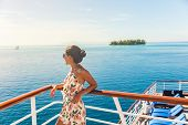 Cruise ship travel vacation woman looking at ocean from deck of sailing boat. Luxury Tahiti Bora Bor poster
