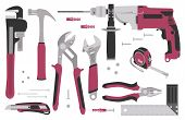 Collection Of Tools For Construction And Repair: Electric Hammer Drill, Pliers, Knife, Pipe Wrench,  poster
