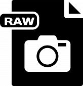 Black Raw File Document. Download Raw Button Icon Isolated On White Background. Raw File Symbol. Vec poster