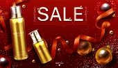 Cosmetics Christmas Sale Banner, Gift Beauty Product Gold Cosmetic Pump Tubes On Red Xmas Or New Yea poster