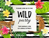 Leopards With Tropical Leaves, Flowers, Wild Party Invitation. Place For Text. Vector Illustration F poster