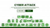 Collection Cyber Attack Elements Icons Set Vector Thin Line. Virus In Email Message And Malware, Inf poster