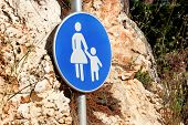Sign Or Symbol For Pedestrians. Warning Road Sign Of Blue Sign Baby Take Care When Walk Across The R poster