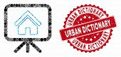 Mosaic House Project And Grunge Stamp Seal With Urban Dictionary Caption. Mosaic Vector Is Designed  poster