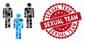 Mosaic People Community And Rubber Stamp Watermark With Sexual Team Phrase. Mosaic Vector Is Compose poster