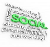 The word Social and related terms in 3D such as customers, friendship, community, networking, market