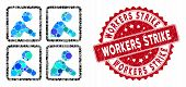Mosaic Workers And Rubber Stamp Seal With Workers Strike Phrase. Mosaic Vector Is Composed With Work poster