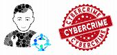 Collage Social Engineer And Distressed Stamp Seal With Cybercrime Phrase. Mosaic Vector Is Composed  poster