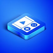 Isometric Portable Video Game Console Icon Isolated On Blue Background. Gamepad Sign. Gaming Concept poster
