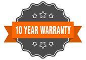 10 Year Warranty Isolated Seal. 10 Year Warranty Orange Label. 10 Year Warranty poster