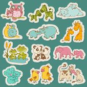 picture of baby frog  - Baby and Mommy Animal Set on paper tags  - JPG