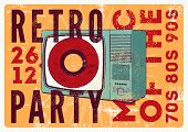 Retro Party Typographic Grunge Poster Design With Old Tv Set And Vinyl Disk. Vector Illustration. poster