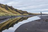 Iceland, Northwest Coast, Huna Fjord, Black Sand Beach View, Overcast Autumn Day poster