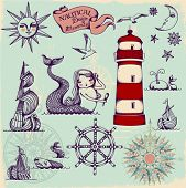 Nautical Design Elements - Whimsical set of hand drawn nautical design elements resembling medieval