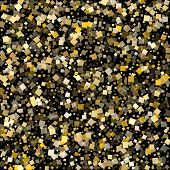 Birthday Gold Confetti Sequins Sparkles Falling On Black. Glittering New Year Vector Sequins Backgro poster