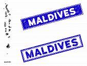 Mosaic Maldives Map And Rectangular Seals. Flat Vector Maldives Map Mosaic Of Random Rotated Rectang poster