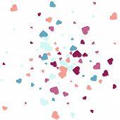Background From Bright Multi-colored Confetti. Festive Heart Shaped Confetti. Joyful Confetti On A W poster