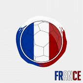 Flag Of France, Football Championship Banner, Vector Illustration Of Abstract Soccer Ball With Franc poster